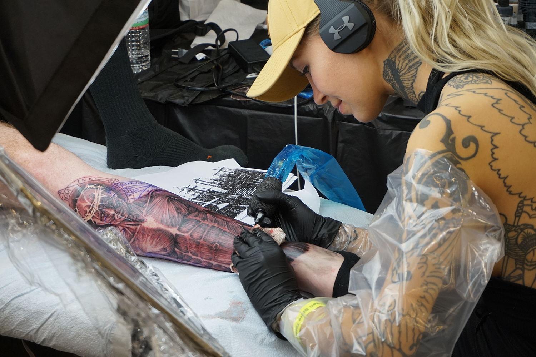 Texan tattoo artist Deanna Smith doing an anatomy tattoo arm