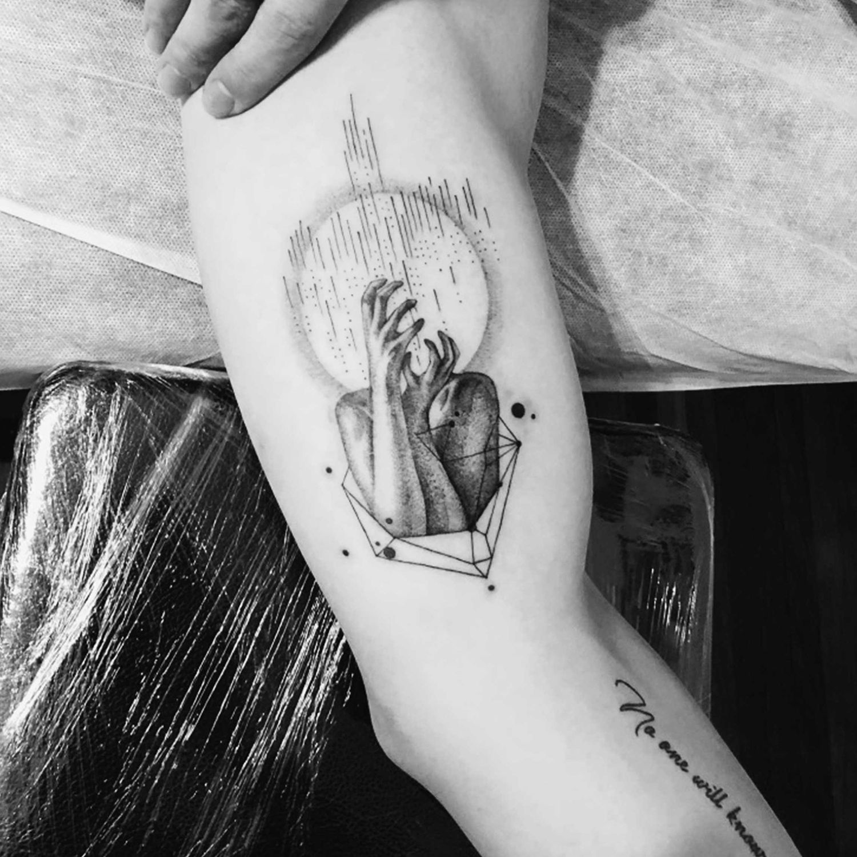 dotwork, abstract women's hands