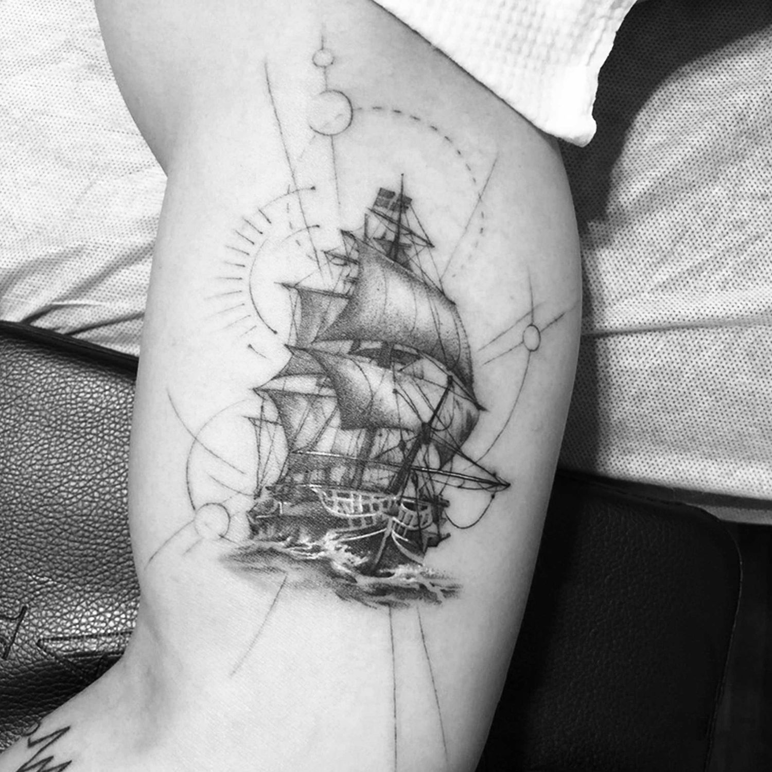 ship on back, black and white pigments