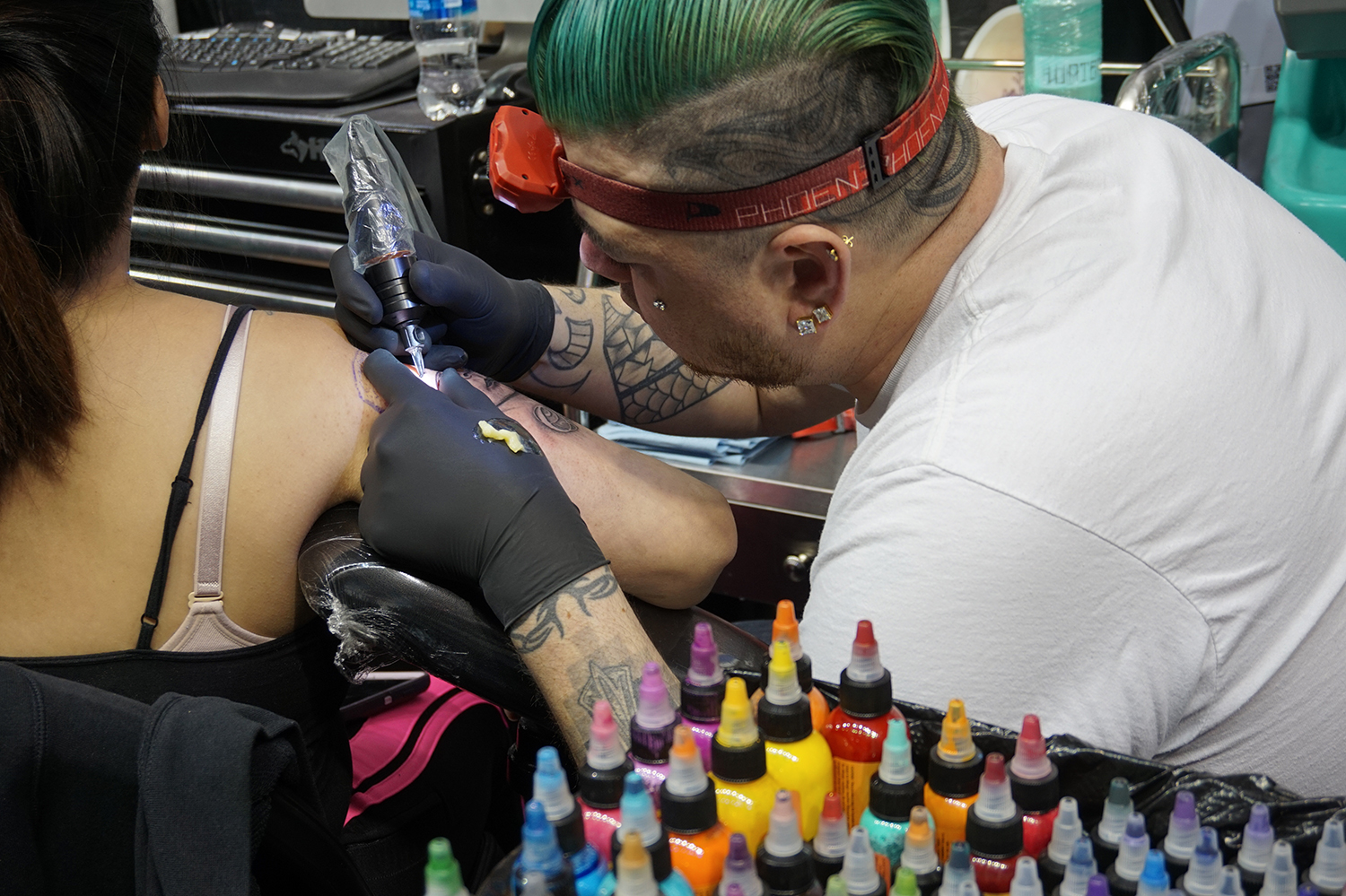 green haired jonny rocket tattoos, inking sleeve