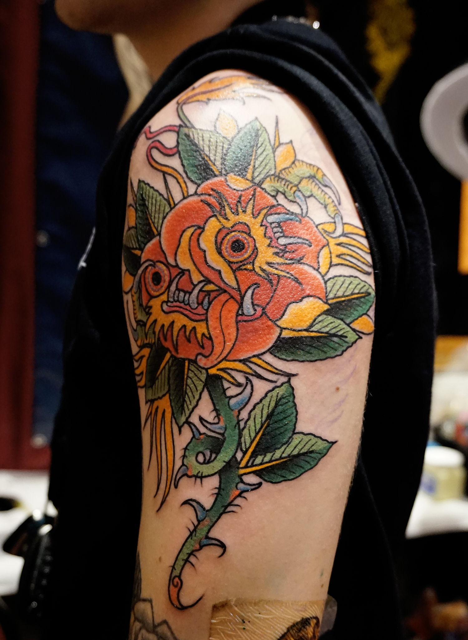 flower tattoo half sleeve by tyler harrington