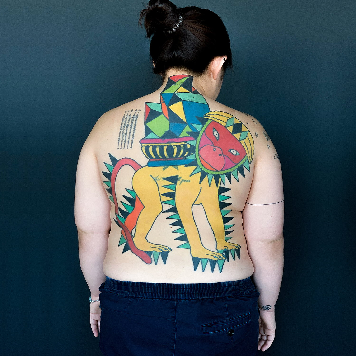 back tattoo, abstract color tattoo, dadaism