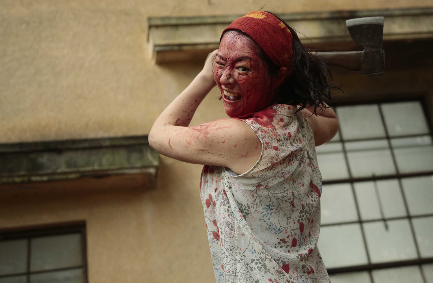 bloody faced woman, one cut of the dead