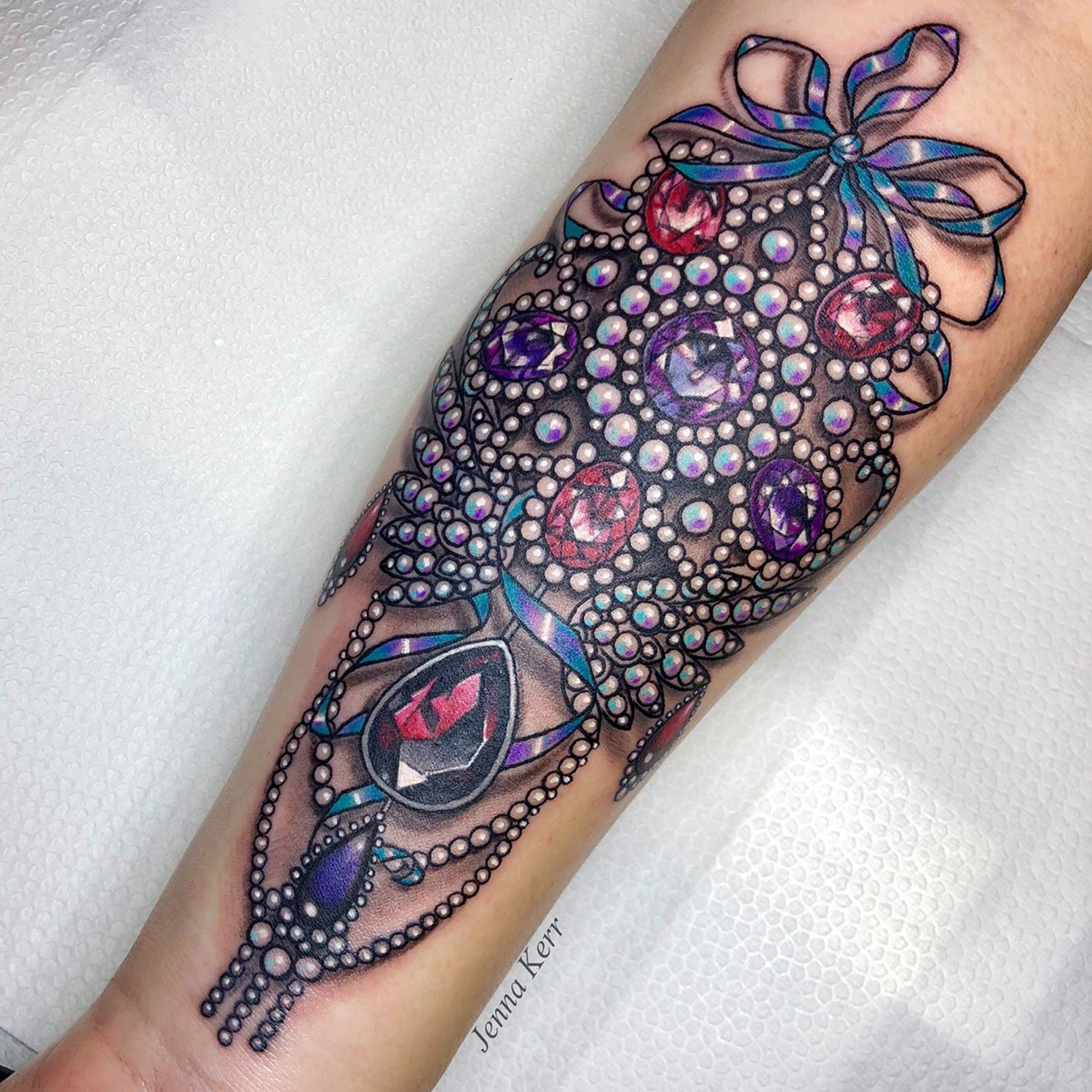 baroque style tattoo, gems, jewllery, jewels