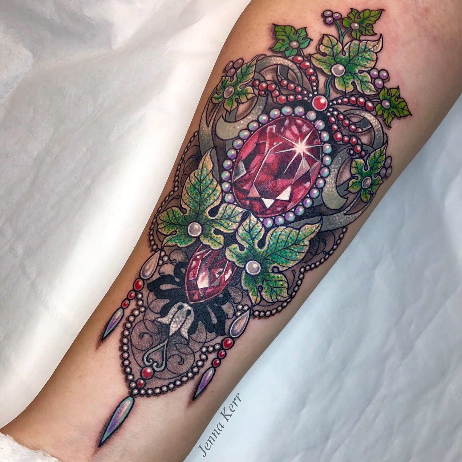 art nouveau tattoo nature, jewels