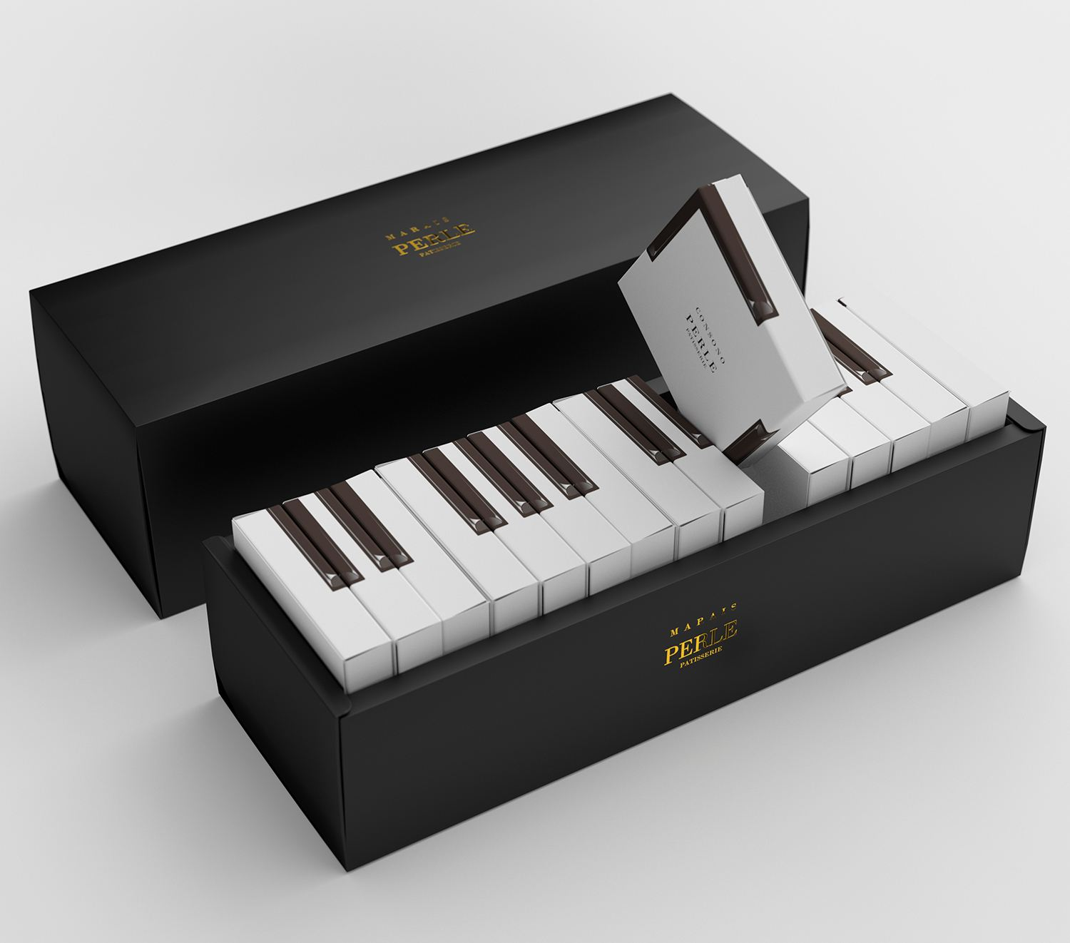 Marais Piano cake packaging by Kazuaki Kawahara