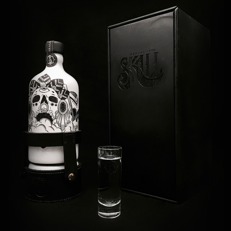 Skall Mezcal by Melissa Xiao Xue Han Ruiz. skull design, bottle