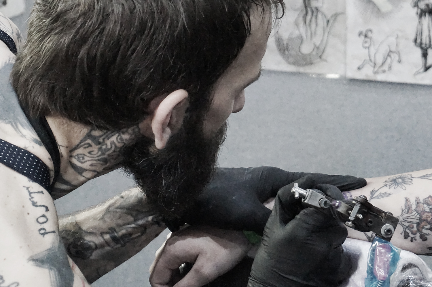 tattoo artist xoil from france, at london tattoo convention
