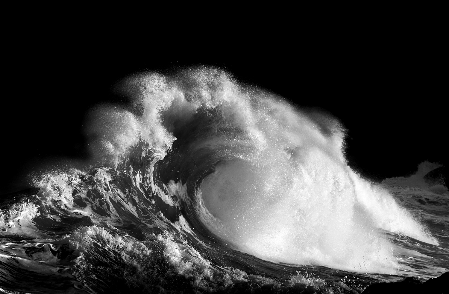 ocean wave, black and white, Lastlight - Ocean Calls For Help Fine Art Photography by Roberta Borges