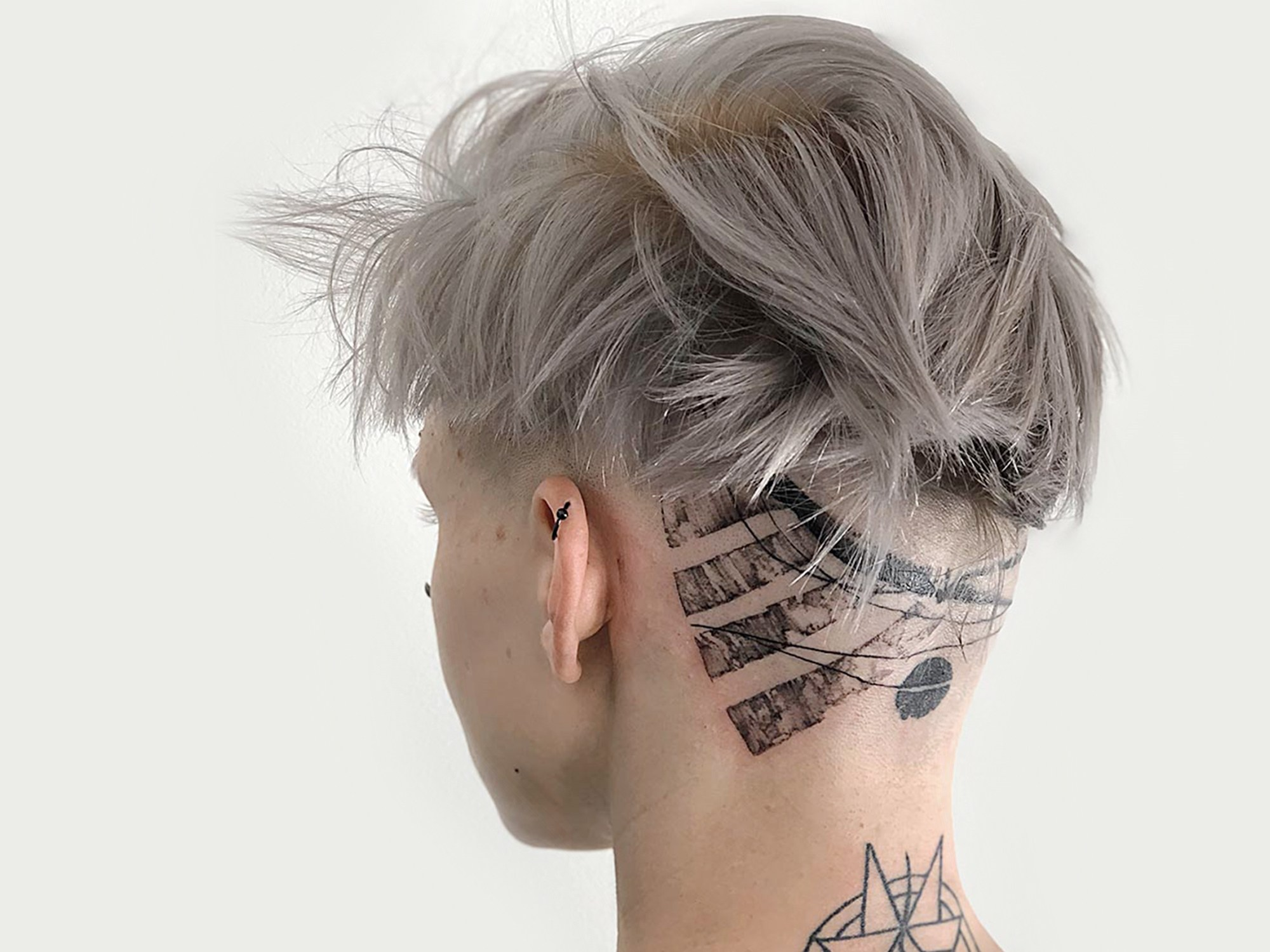 Head tattoo on by Artem Koro, abstract blackwork