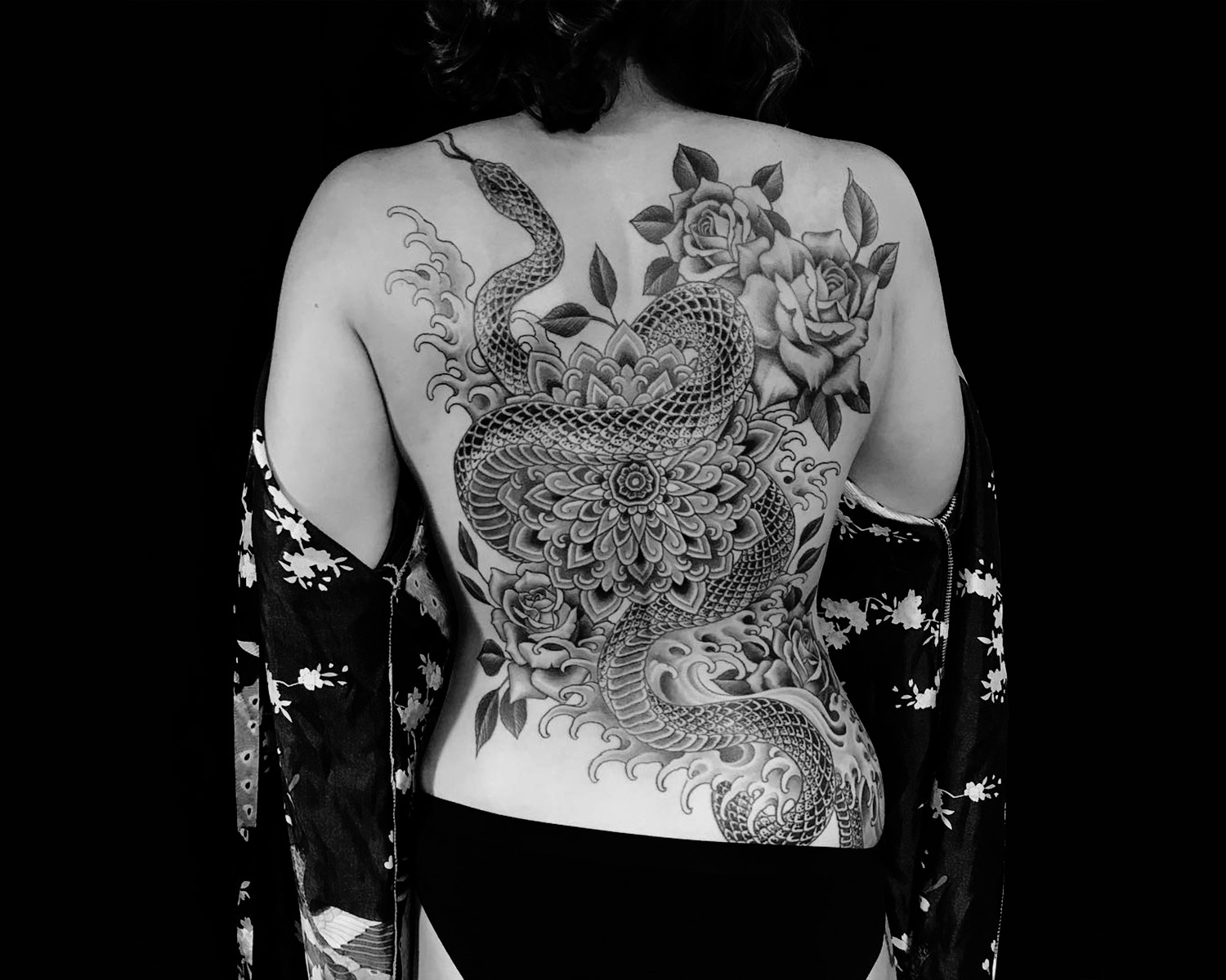 snake and rosas, japanese tattoo by chris garver