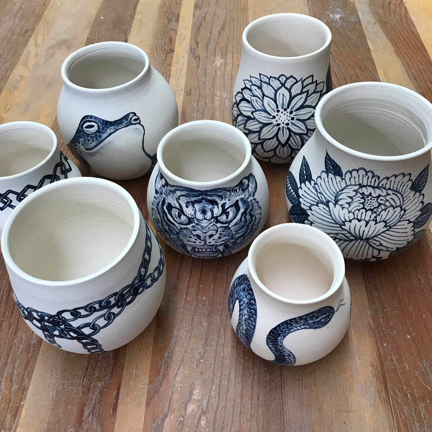 blue pottery painting by chris garver