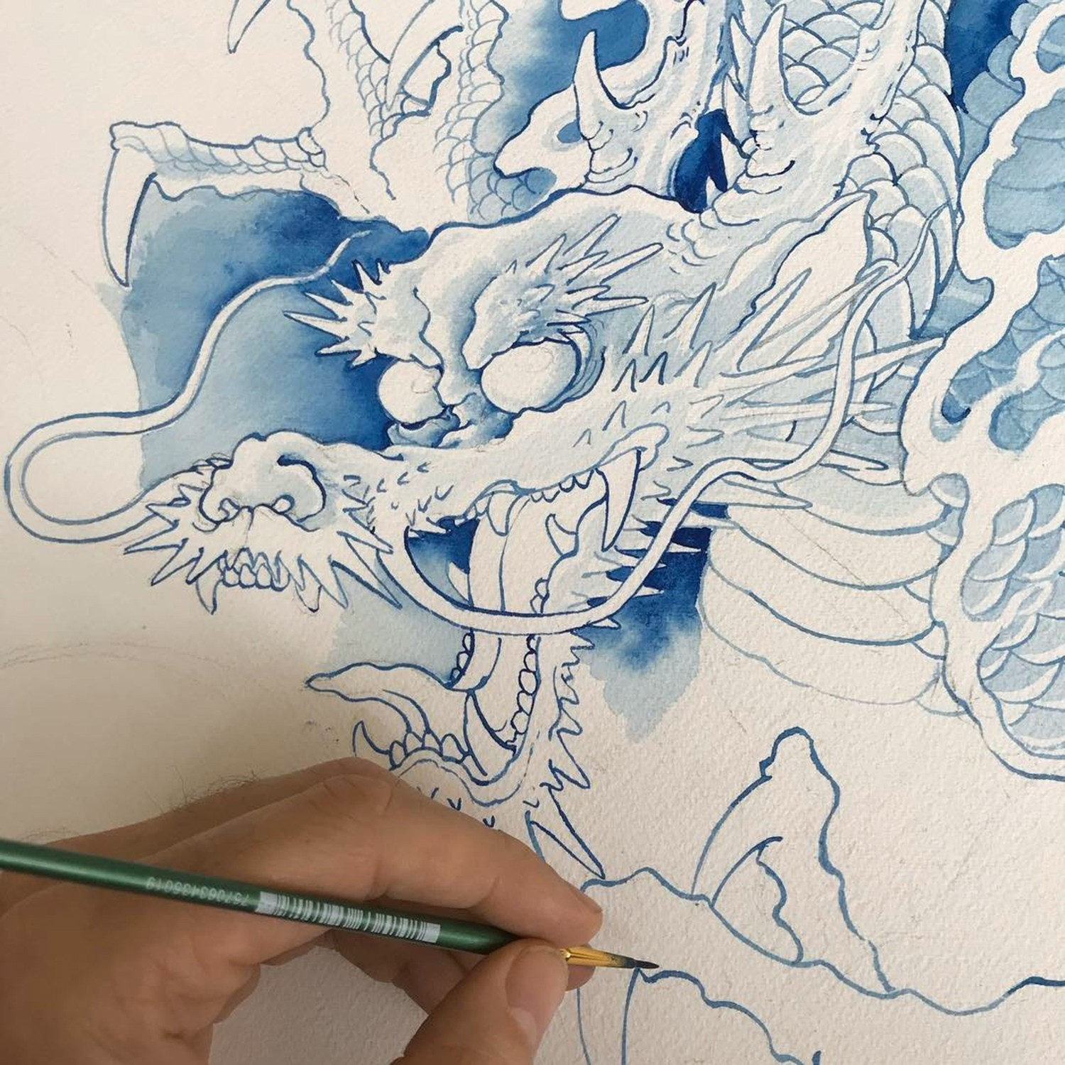 dragon painting in process by chris garver