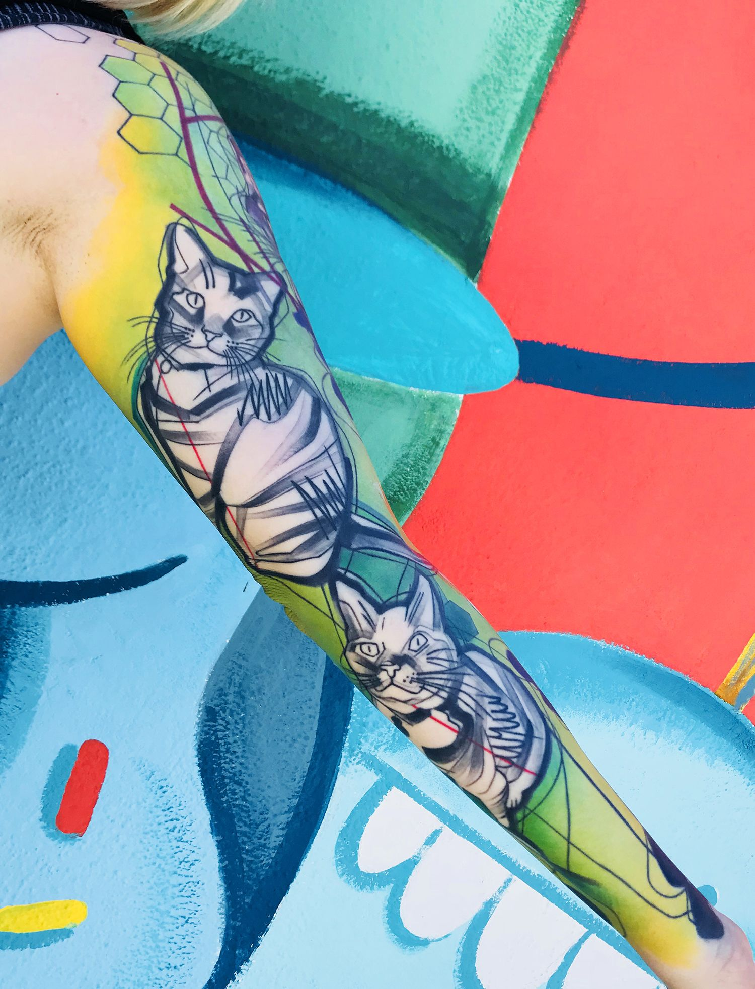 cat tattoo sleeve by ivana