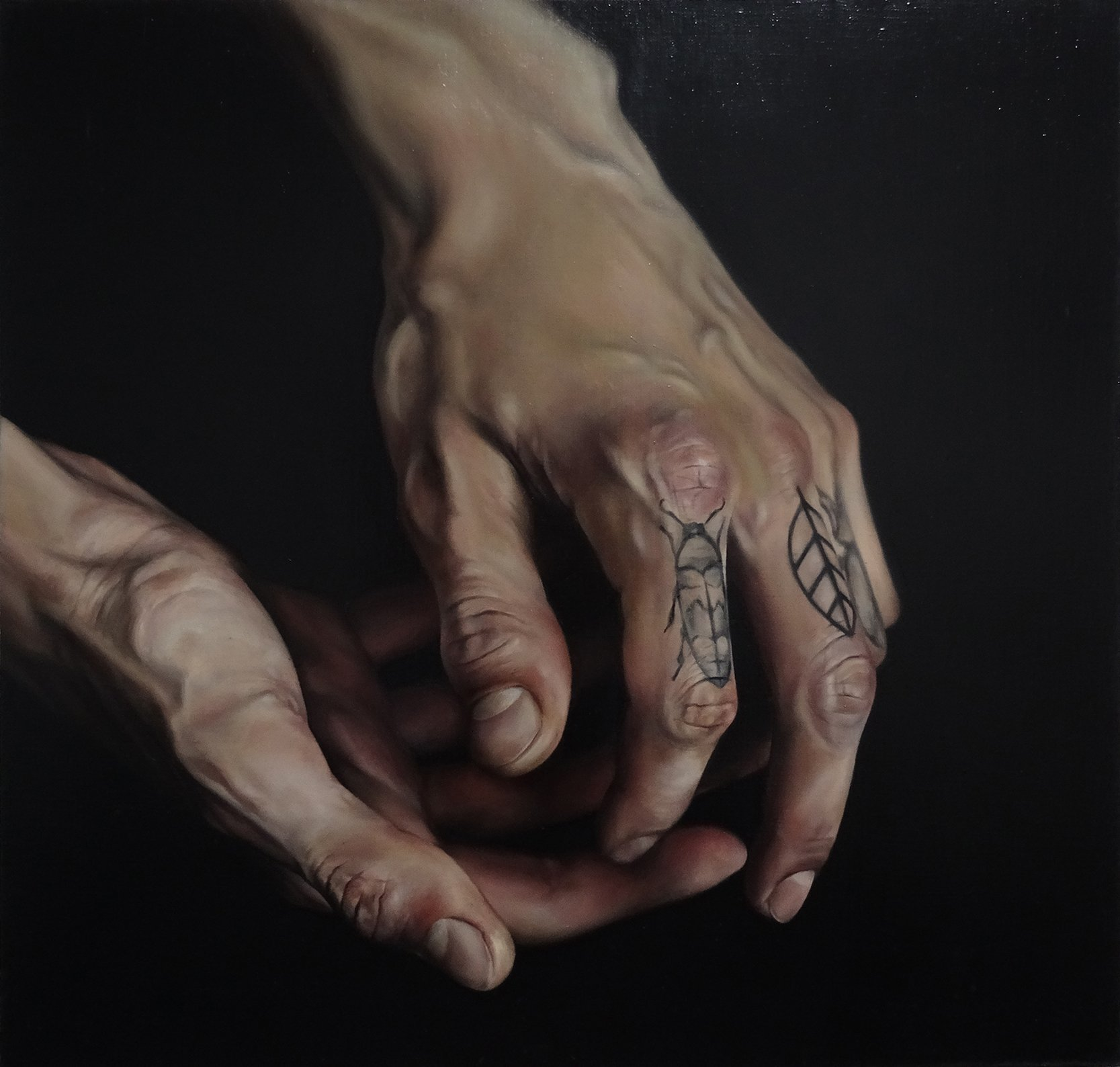 hyperrealist oil painting of tattooed hands by yanina viland