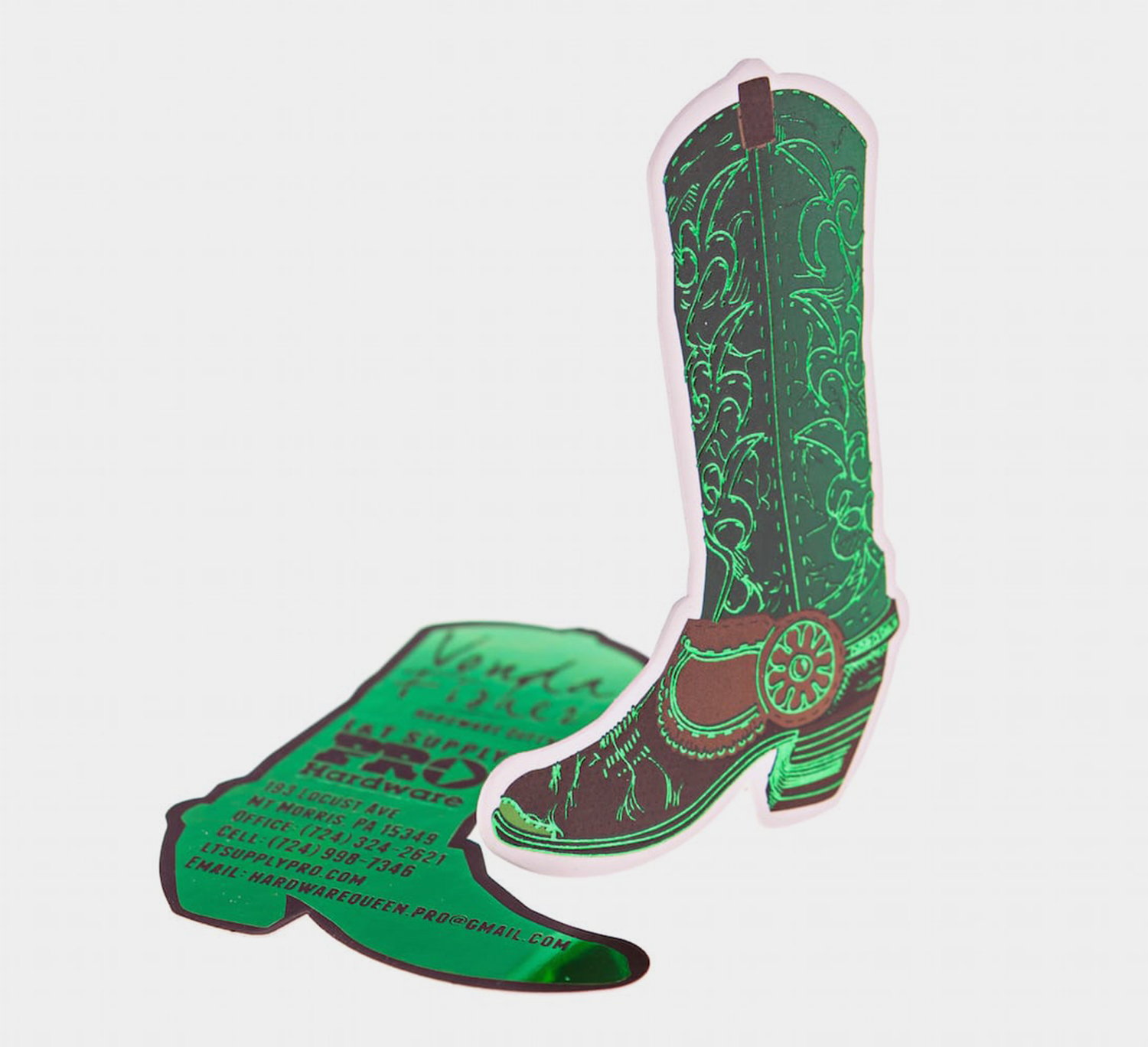 die cut business cards, cowboy boots