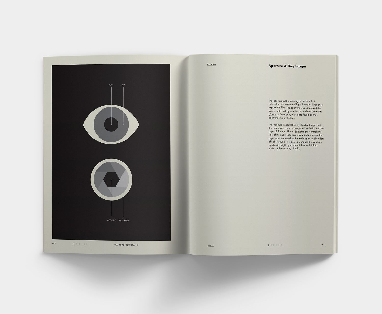 Analogue Photography Reference Book by Andrew Bellamy, eye on page spread