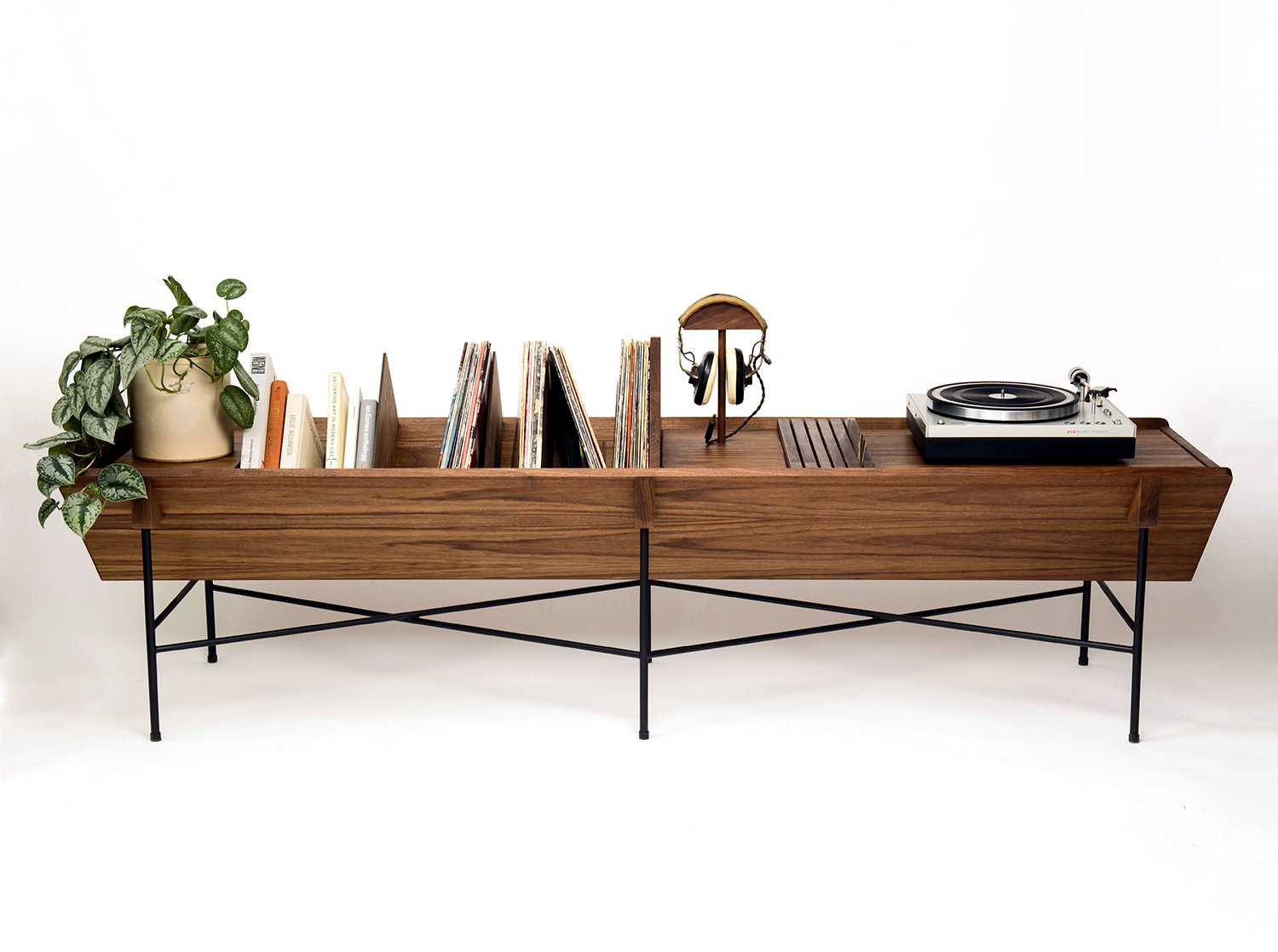 OPEN 45 Credenza by Adam Friedman, wood table for record player