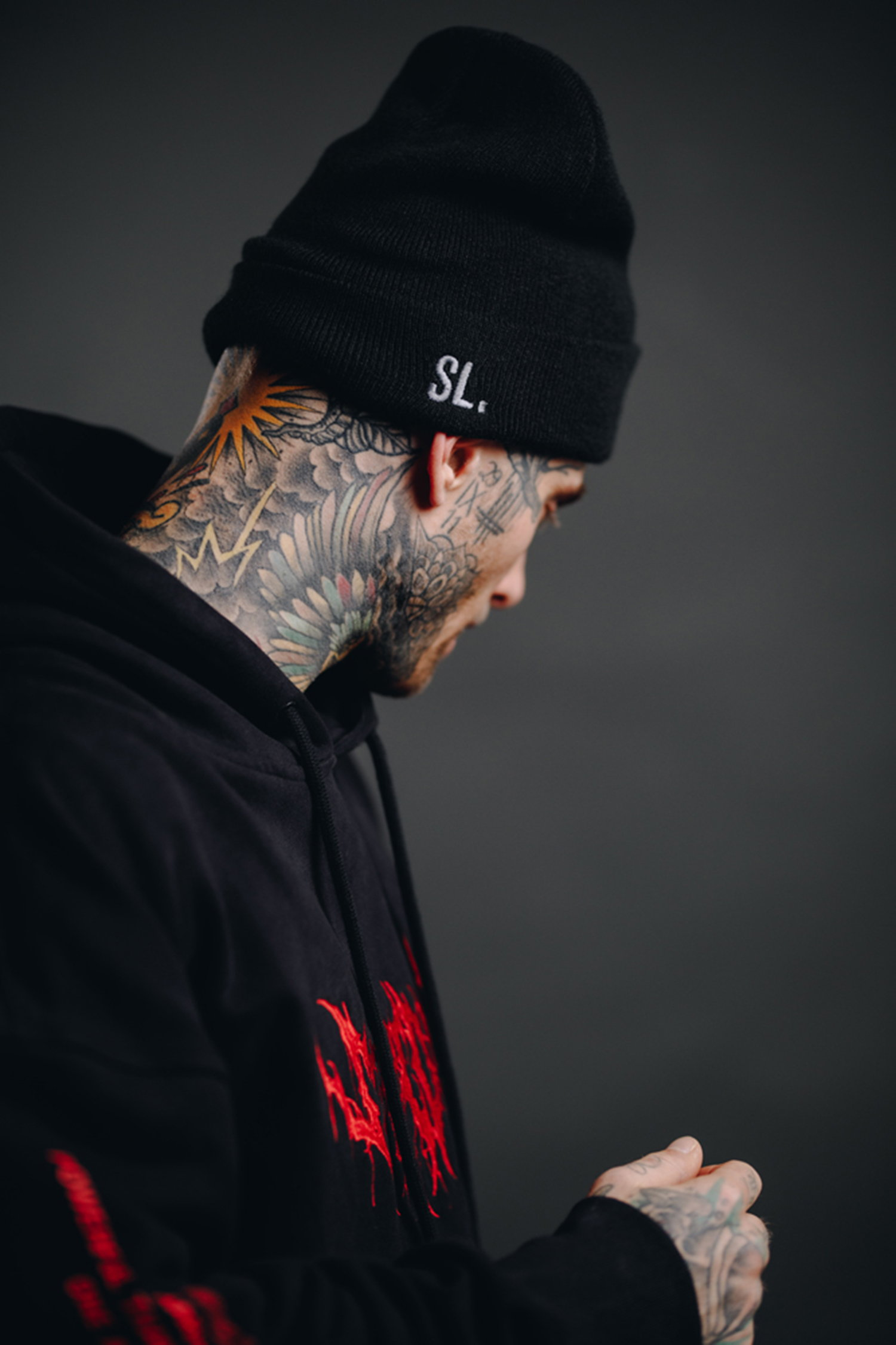 bloodshot black hoody sweater, tattoo inspired clothing, stay cold apparel, the superior line, SVPRR