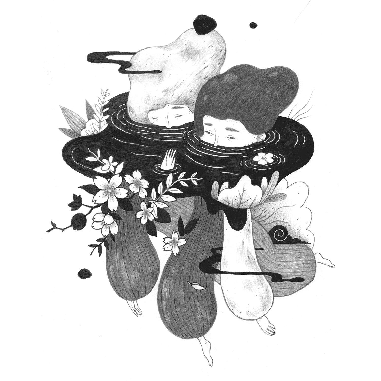 Village Ghosts Book Inside Illustration par Hsianglin Tseng