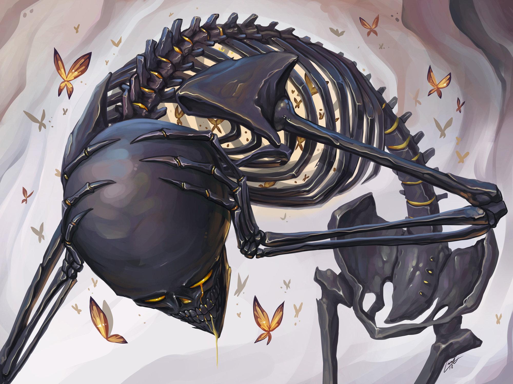 illustration, squelette, en noir, Bird Cage par Lana Ansay