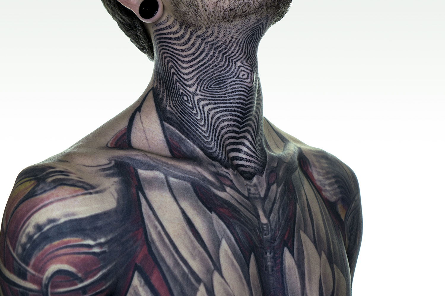 geometric blackwork neck tattoo, futuristic by ilya cascad