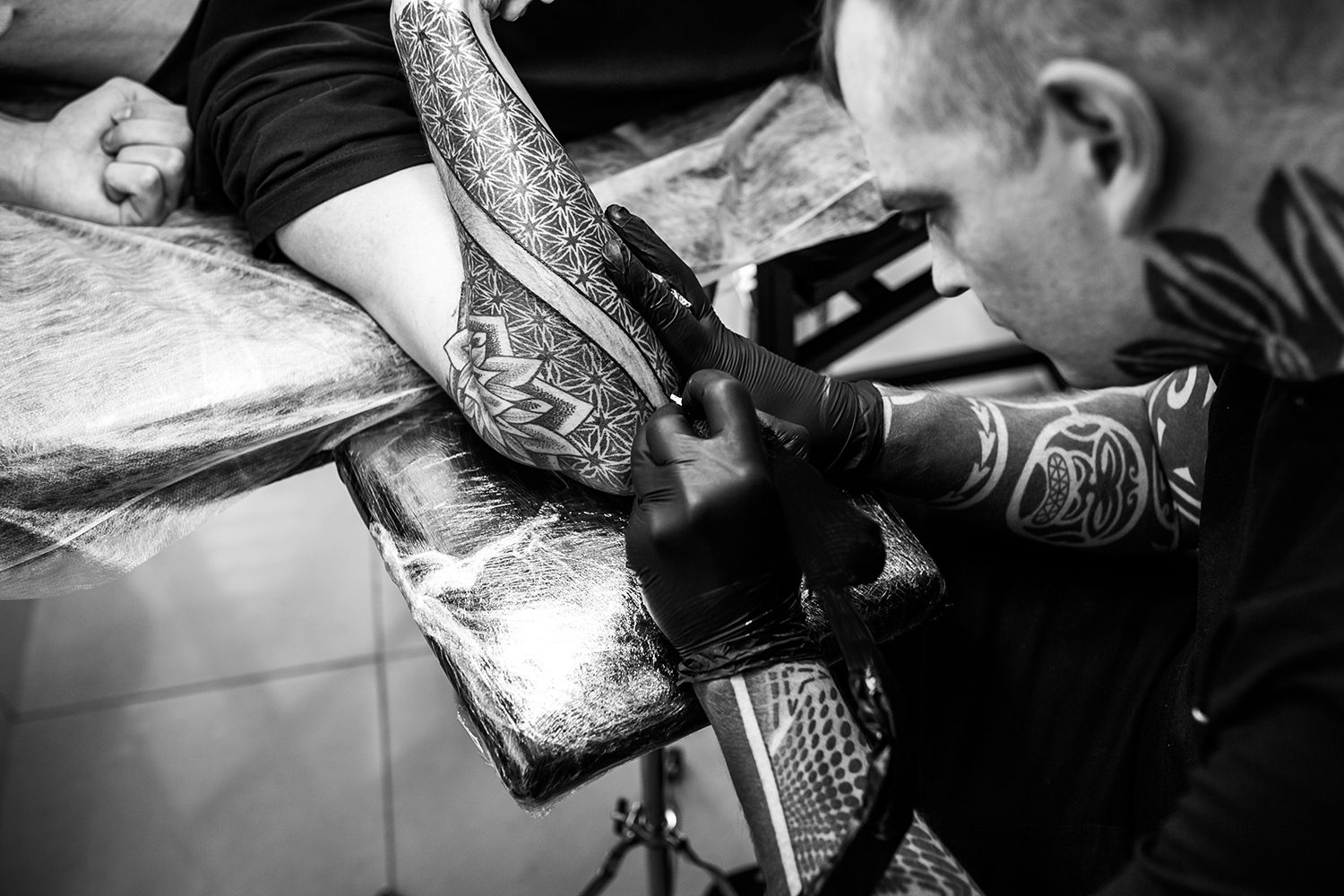 dotwork tattoo, on elbow, arm by ilay cascad, ornamental style, bishop machine
