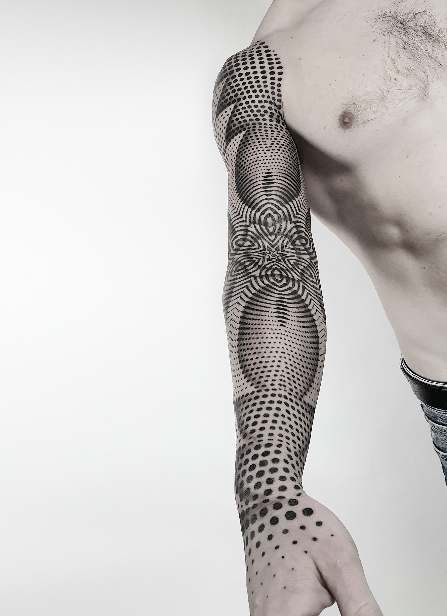 spectacular dotwork arm sleeve by ilya cascad, ornamental style