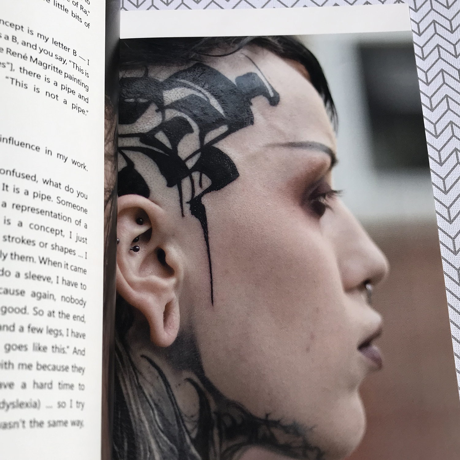 Gordoletters calligraphy tattoo, portrait, in tatoo book by scene360 and Adriana de Barros