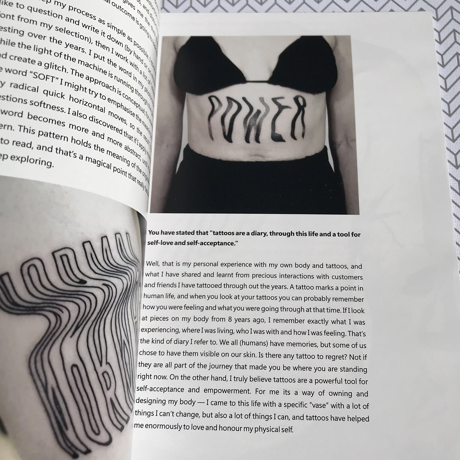 Letter body art by julim rosa, in tatoo book by scene360 and Adriana de Barros, limited premium edition