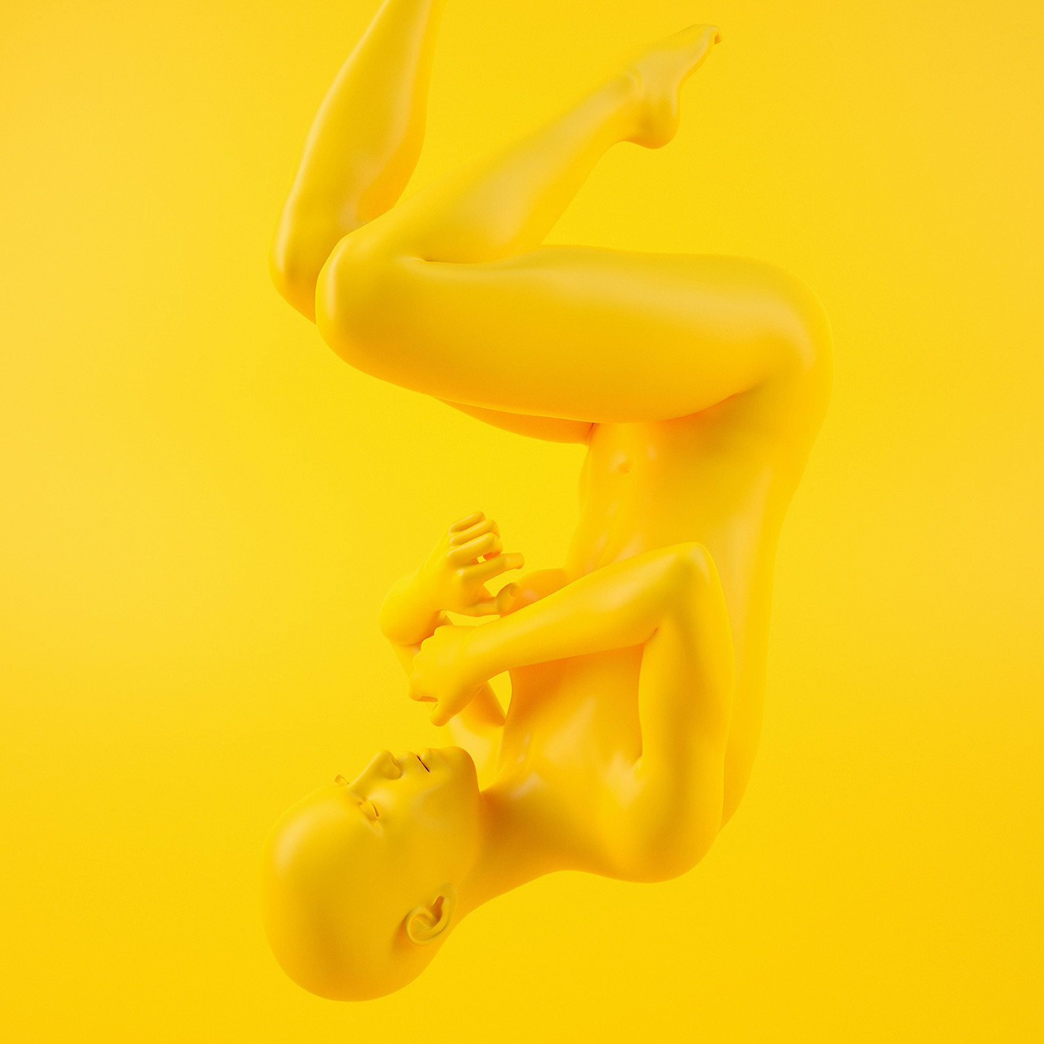 body floating, 3d art , Yellow Visual IP Design by Yu Chen
