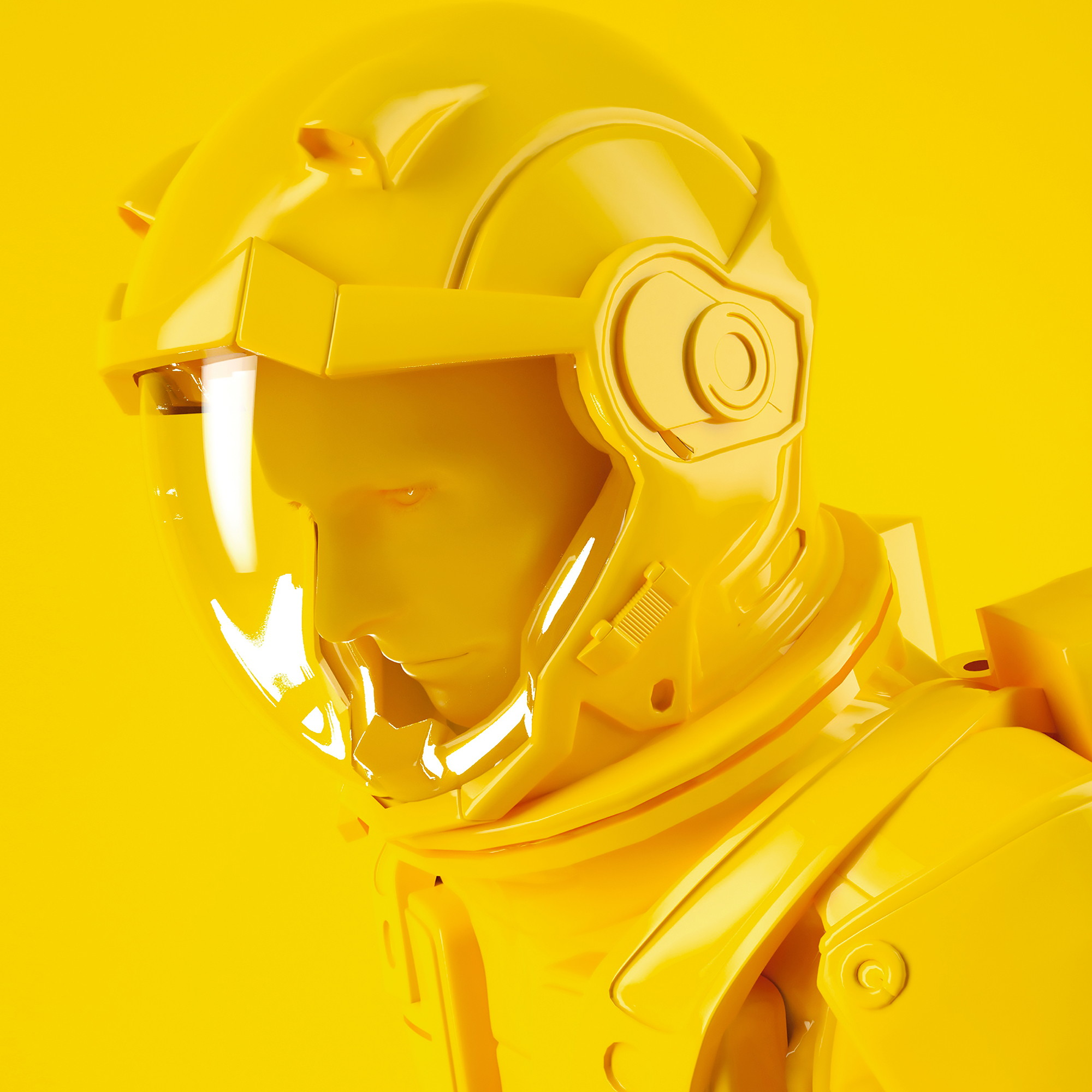 astronaut, 3d graphic, Yellow Visual IP Design by Yu Chen