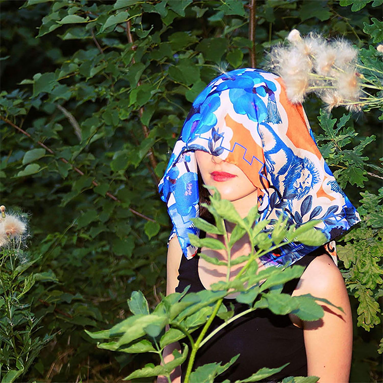 Oriedental Scarf by Kina Usami, fashion, scarf design, floral, headscarf