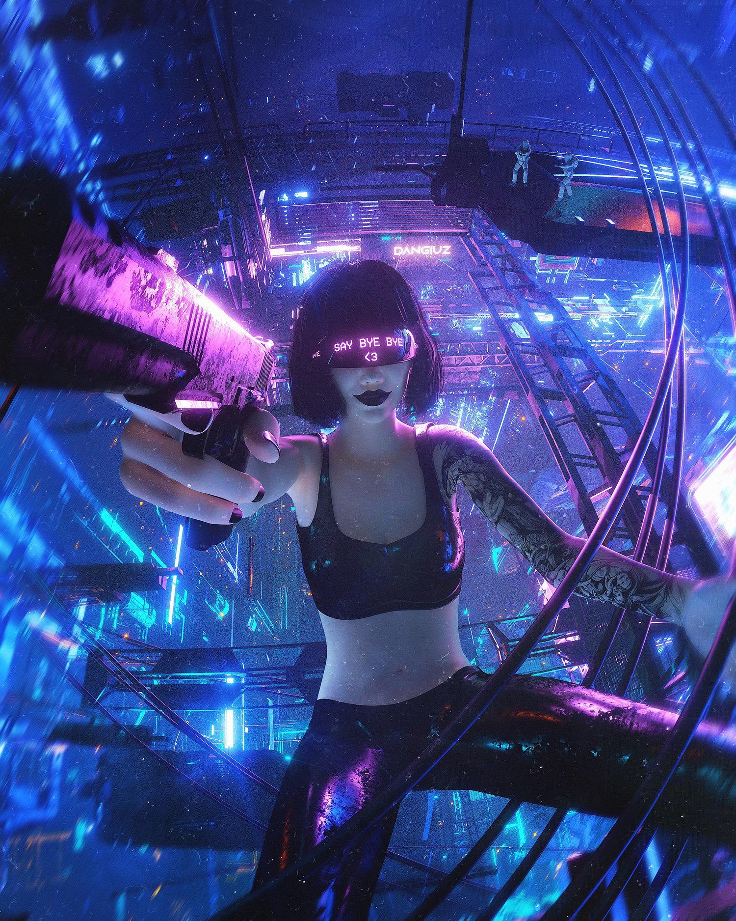 female fetale cyberpunk digital world by Dangiuz / Leopoldo D'Angelo
