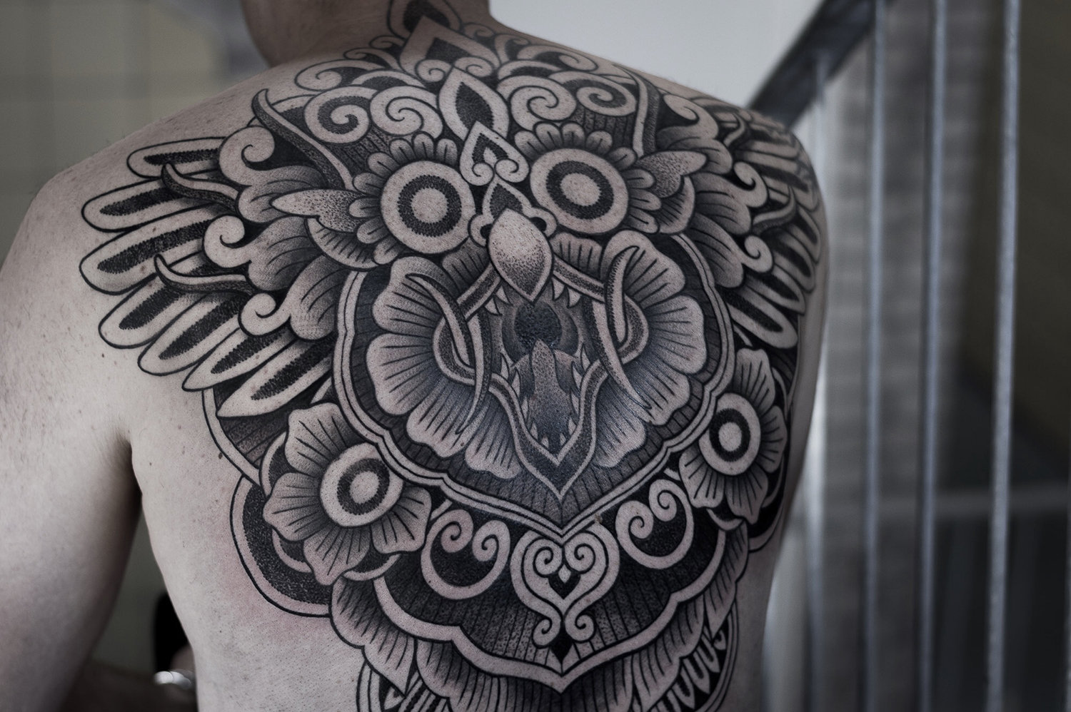 garuda back tattoo by paradox from the netherlands