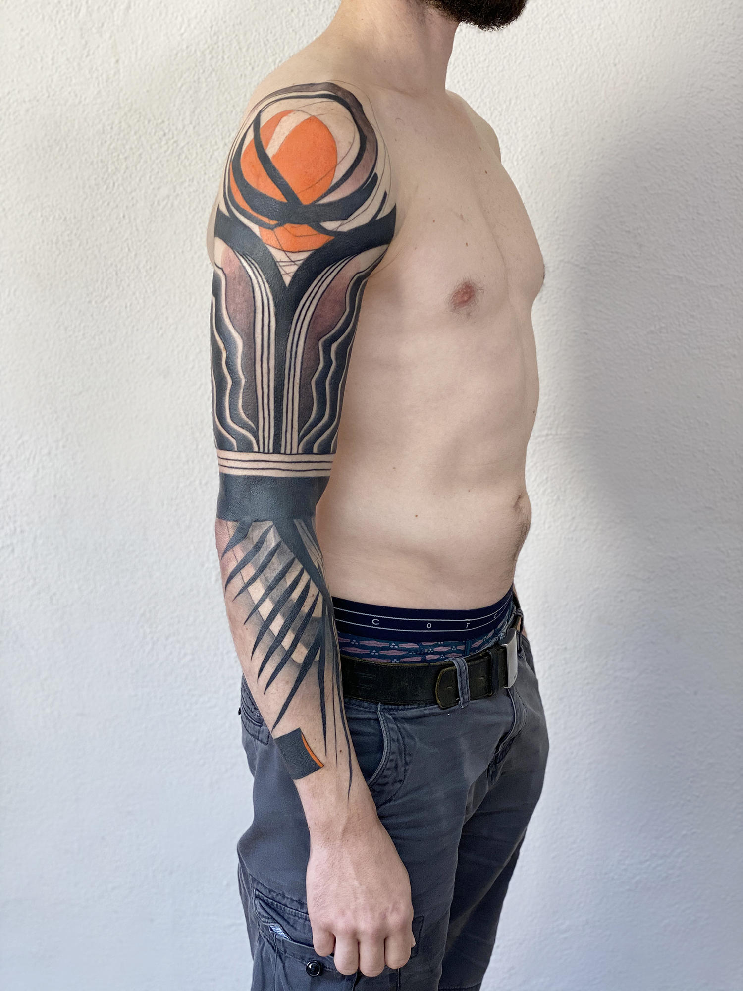 abstract tattoo sleeve by dane, tattoo interview