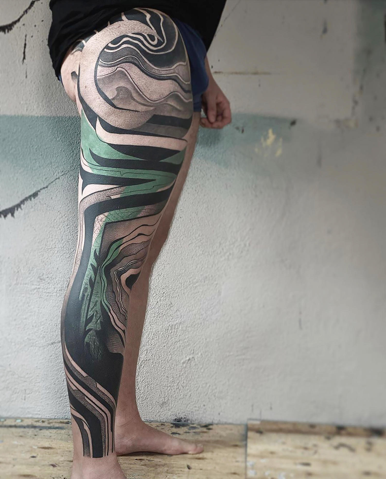 leg tattoo green and black by dane, danepsydala