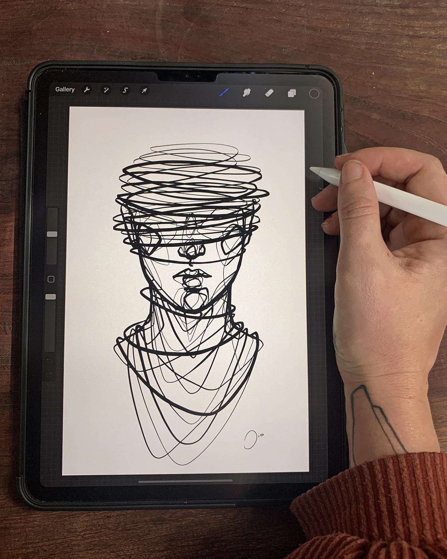 tattoo drawing, face on ipad, tablet by jio maia