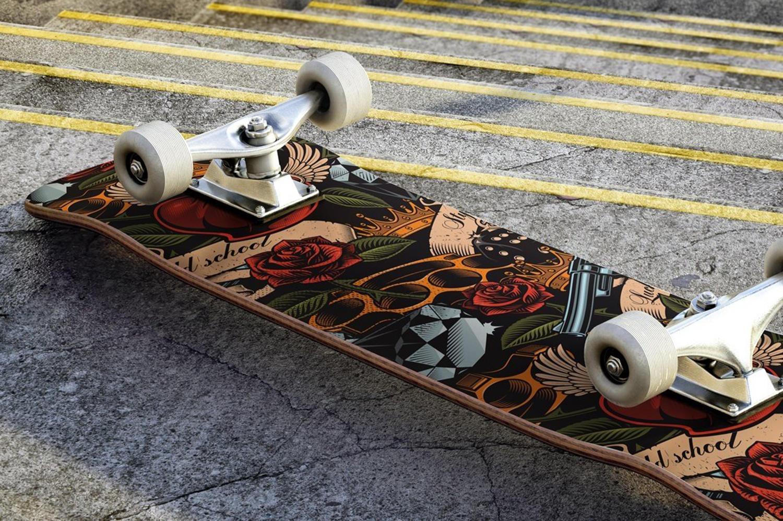 Tattoo Illustration stock, skateboard, designbundles.net