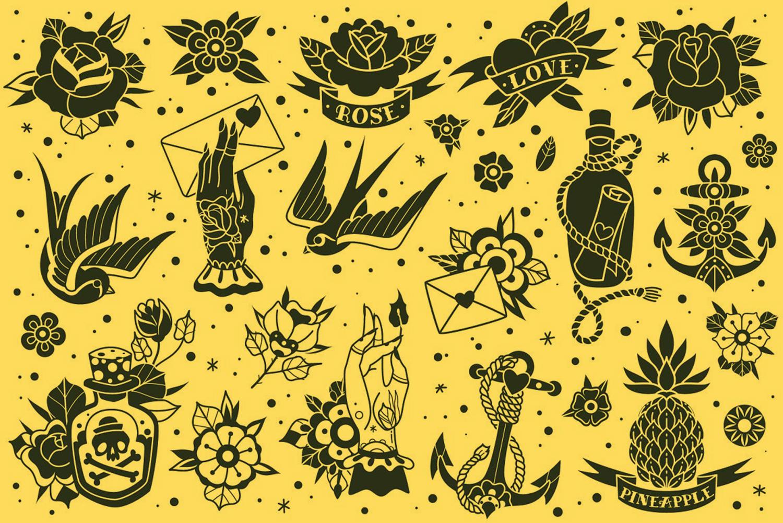 oldschool tattoo vectors, illustrations, designbundles.net
