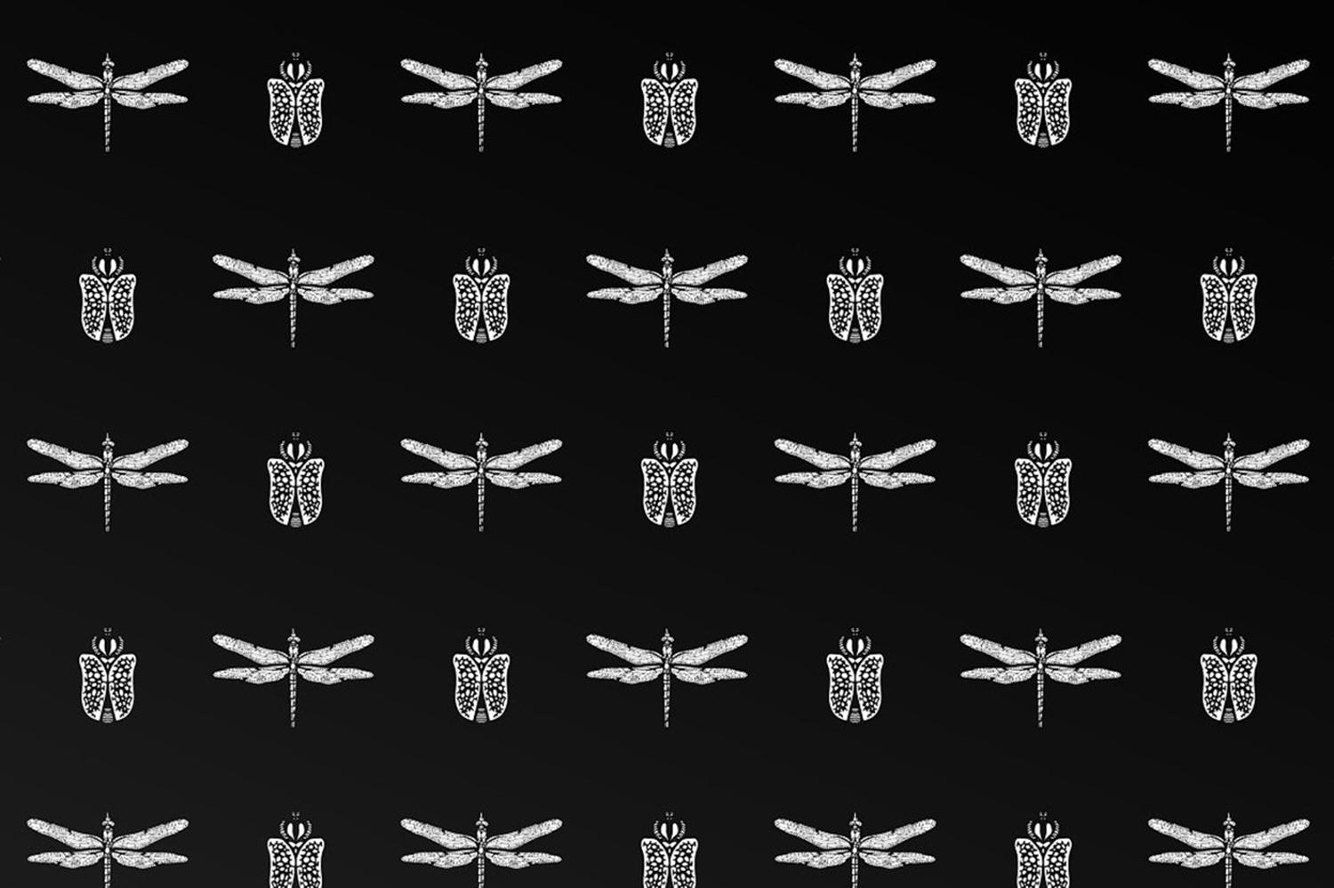 patterned insect background, tattoo, designbundles.net