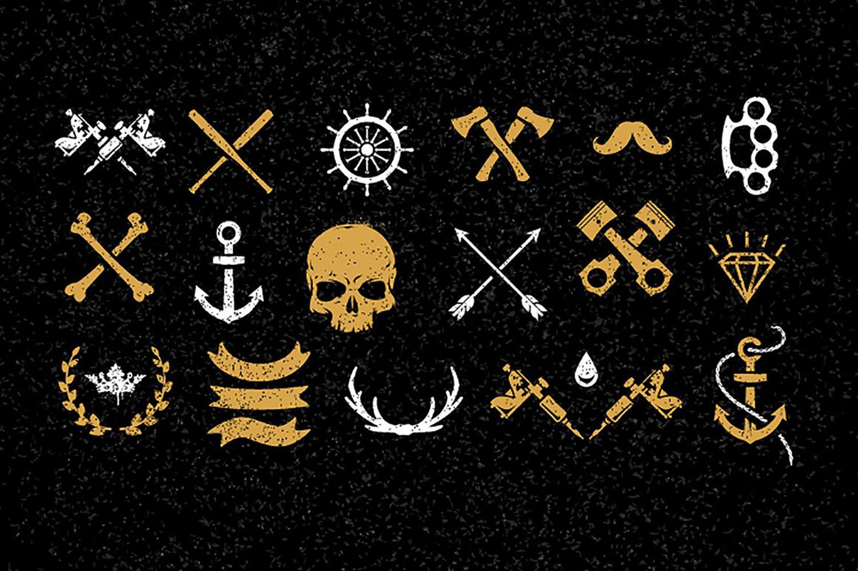 skulls, sailor symbols, tattoo vectors, designbundles.net