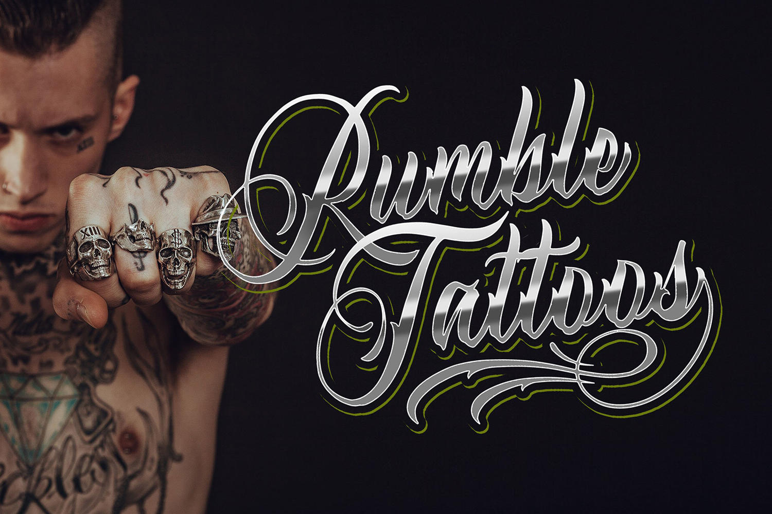 rumble tattoo font, scripting style