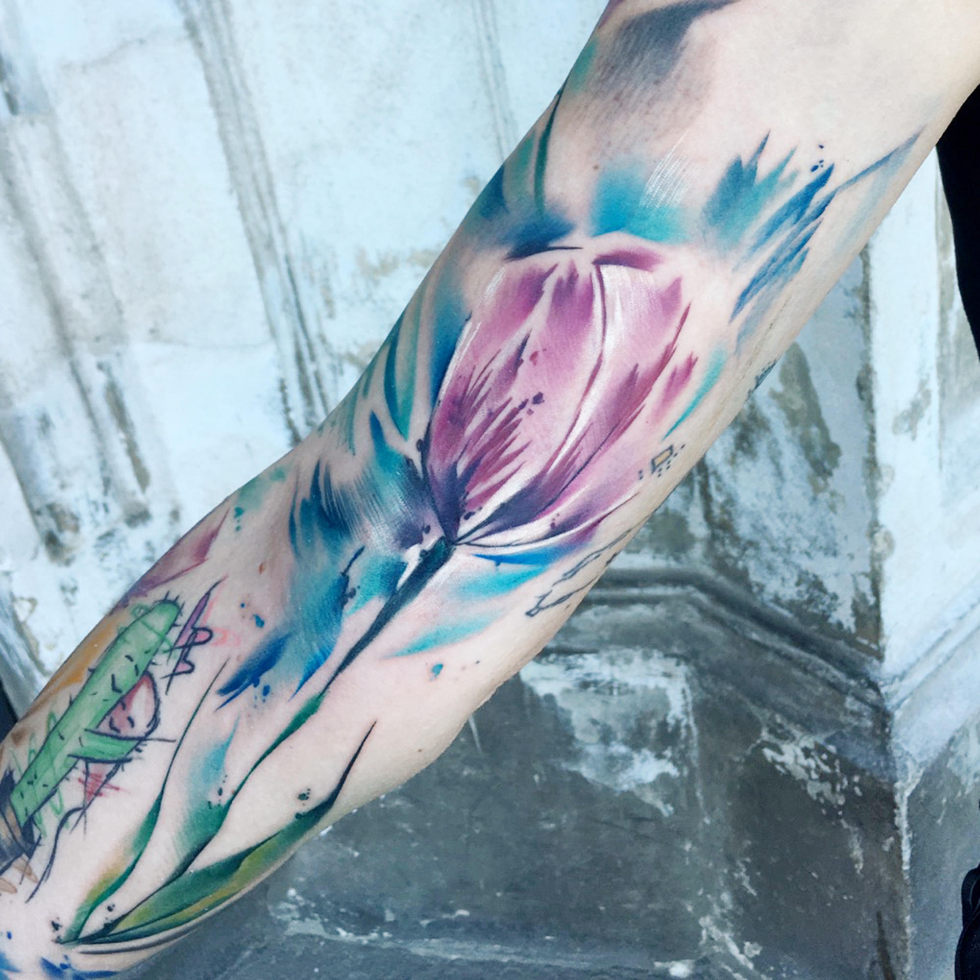 watercolor, painting style tulip by Filip Fabian, san francisco, blue and black studio