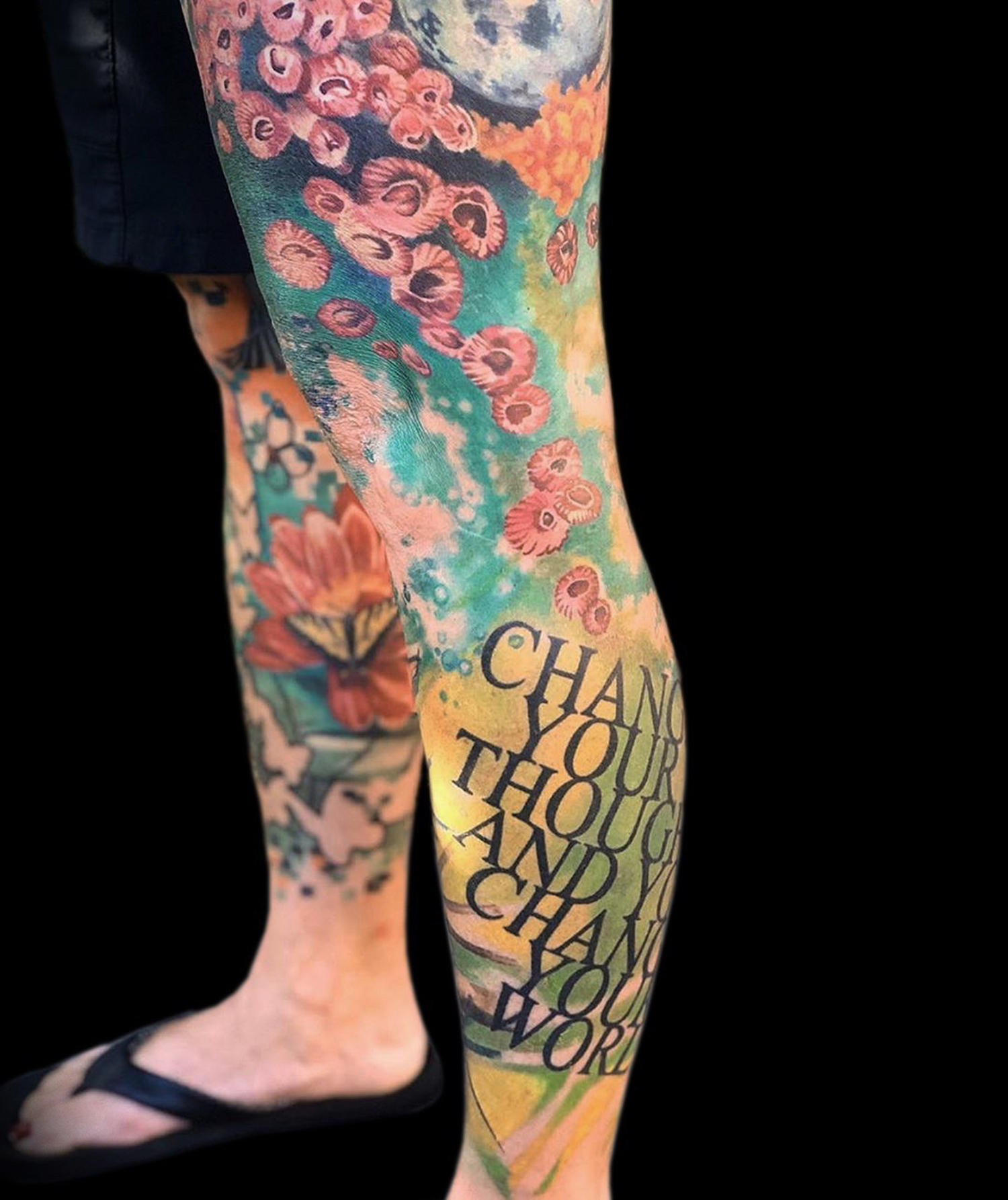 color tattoo leg sleeve kari barba, tattoo legend from long beach, sea theme