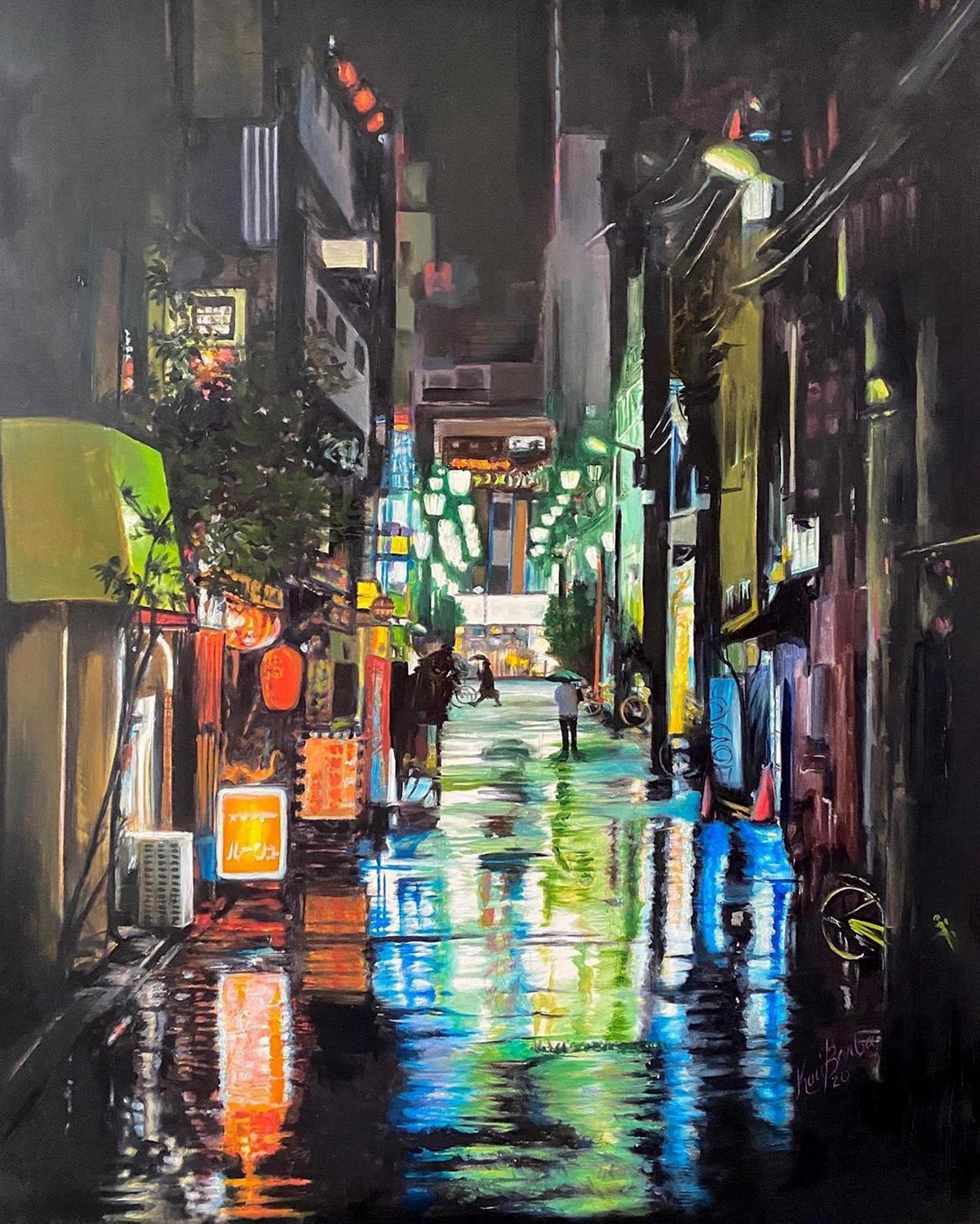 Painting of city street by kari barba