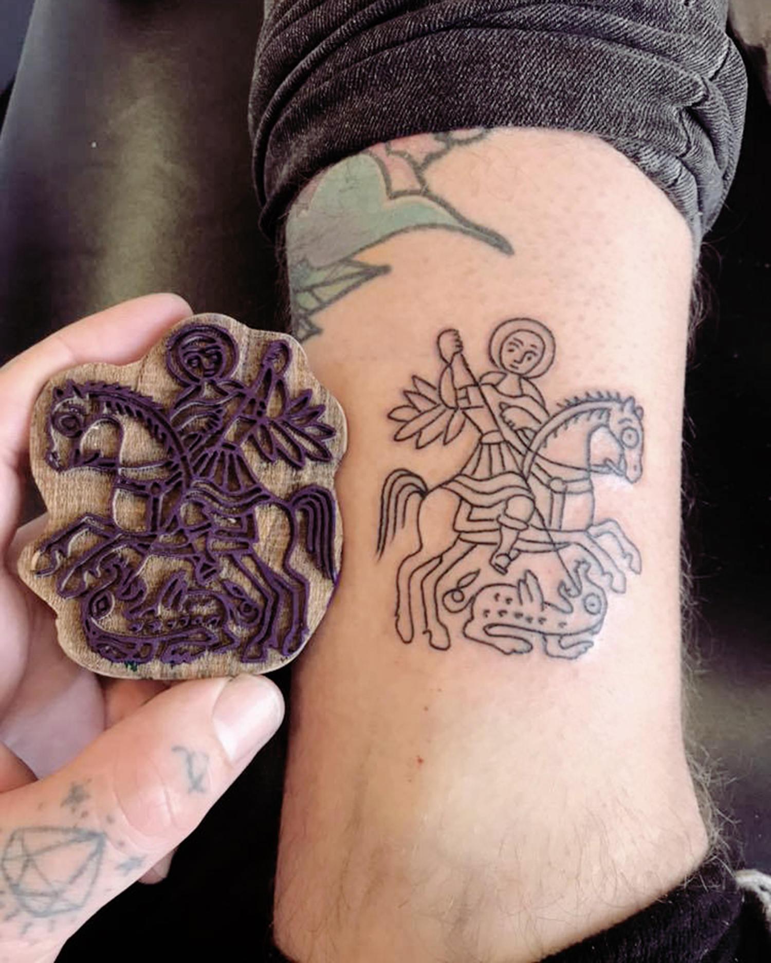 marc newton, the skin sorcerer studio, coptic old tattoo stamps