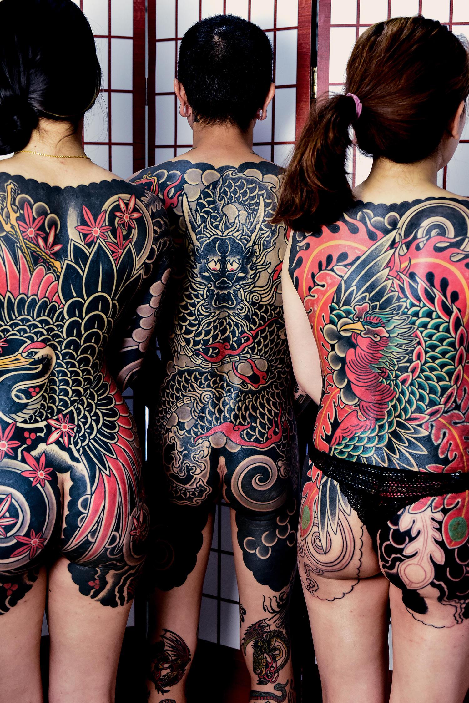 The tattoos depict the following themes: Ysuru (crane), Ryu (dragon), and Hou-Ou (phoenix).