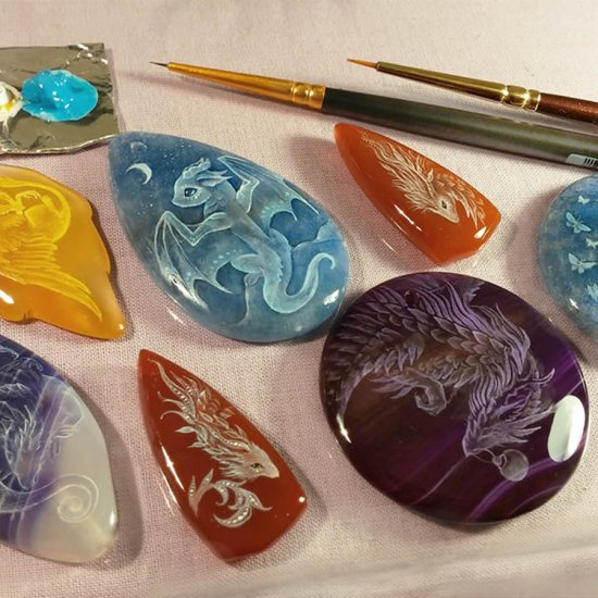 Legendary Dragons Hand Painted on Gemstones
