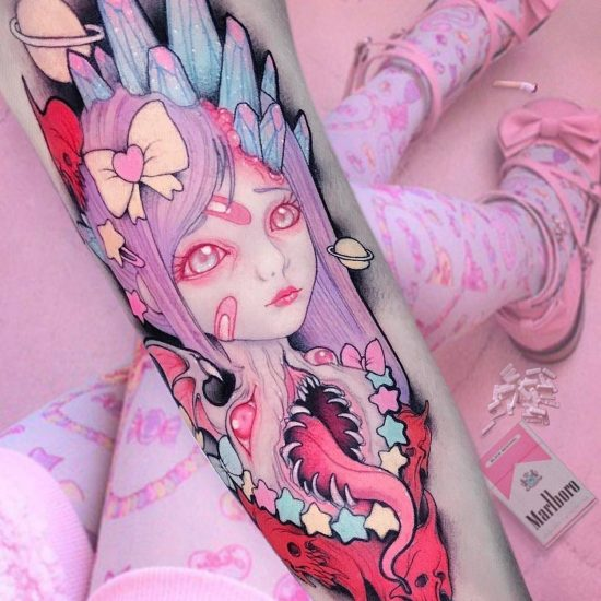 "Neo-Traditional Tattoos of ""Pastel Gore"" by Brando Chiesa"